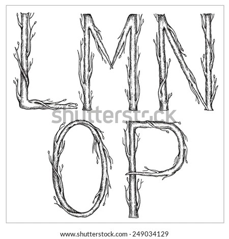 Hand drawn cursive font in the form of tree branches
