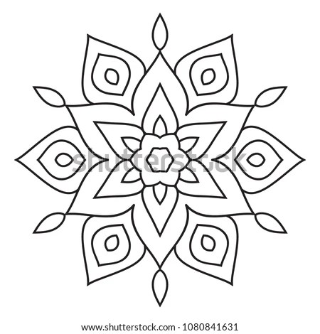 Easy Mandala Basic Simple Coloring Pages Stock