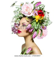beauty spring girl flowers hair