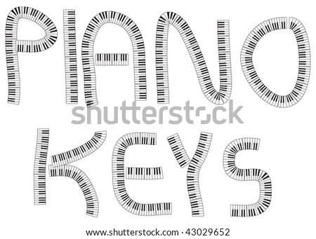 Word Piano Keys Written Bunches Piano Stock Illustration
