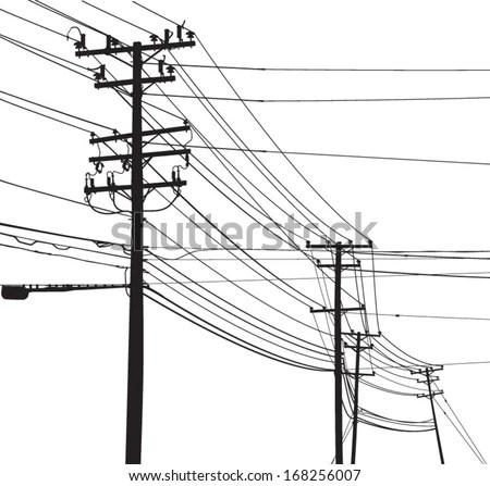 Vector Silhouette Telephone Poles Utility Poles Stock