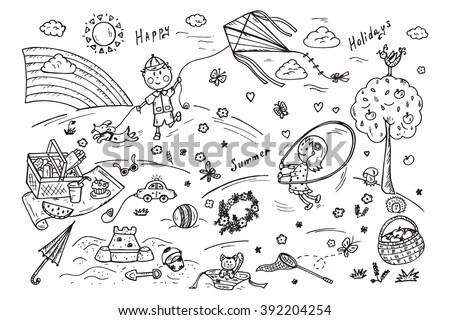 Children Outdoor Activities Summer Camp Holidays Stock