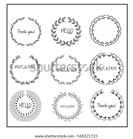 Set 55 Wreaths Branches Vector Illustration Stock Vector