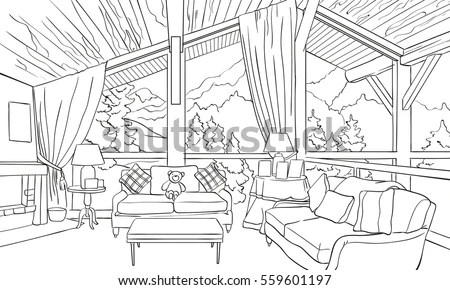 Outline Interior Alpine Chalet Stock Vector (Royalty Free