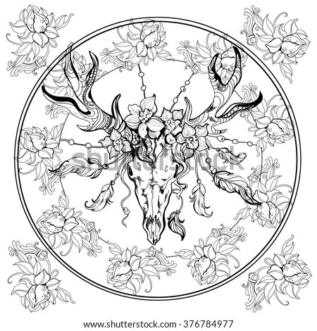 Boho Deer Scull Adult Coloring Book EPS Stock Vector