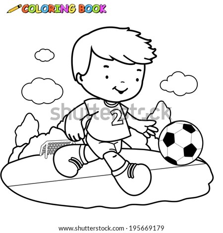 Coloring Page Outline Cartoon Boy Soccer Stock Vector