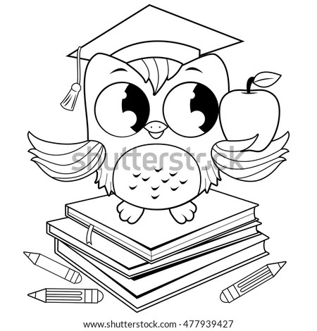 Owl On Books Graduation Hat Coloring Stock Vector