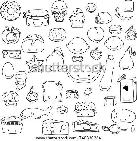 Cute Food Fruit Vegetable Junk Food Stock Vector 740330284