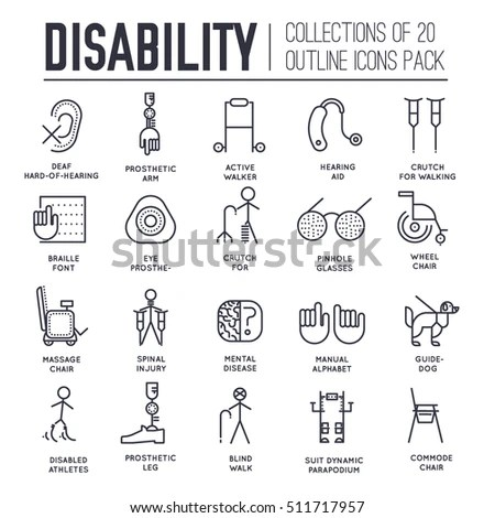 Care People Disabled Thin Line Illustration Stock Vector