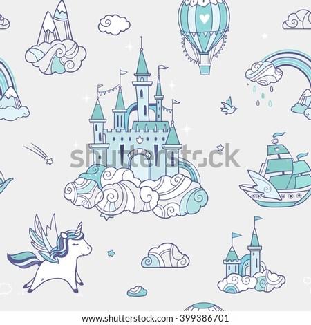 Fantasy Girl Dream Floating House Castle Wallpaper Magic Cute Baby Vector Set Fairy Stock Vector 377313253