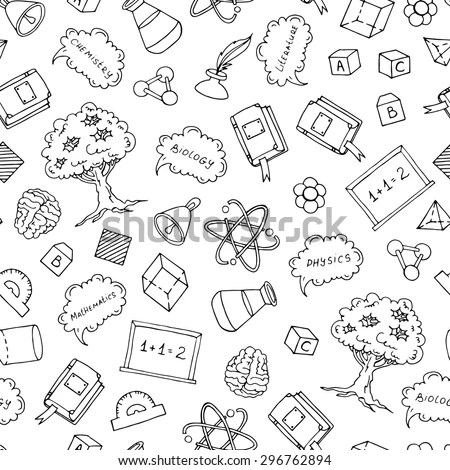 Vector Pattern Hand Drawn Elements Biology Stock Vector