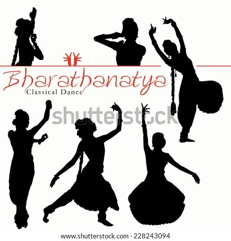 Classical Dance Silhouettes Drawing Outline Inadian Stock