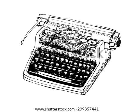 Woodcut Style Image Manual Typewriter Stock Vector