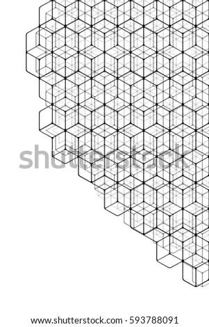 Abstract Black White Geometric Pattern Rhombuses Stock