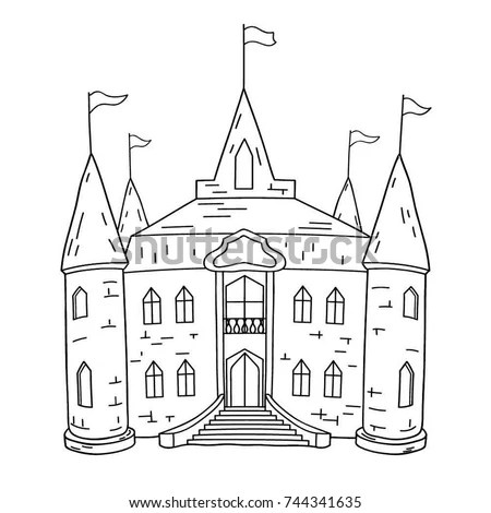 Fairy Tale Illustration Black White Medieval Stock