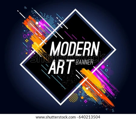 Modern Art Banner Bright Abstract Design Stock Vector