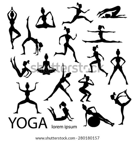 Yoga Poses Silhouettes Vector Body Pose Stock Vector