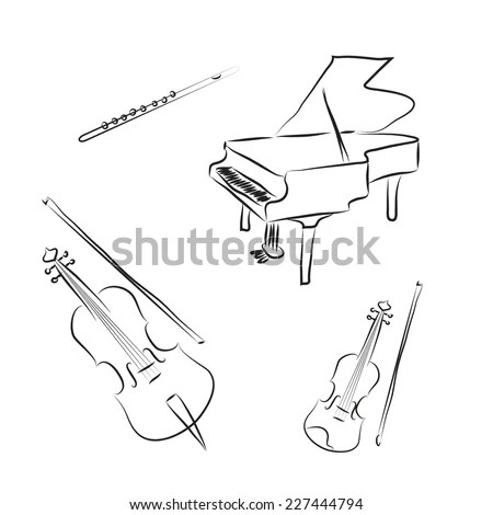 Black White Cartoon Music Instruments Violin Stock Vector
