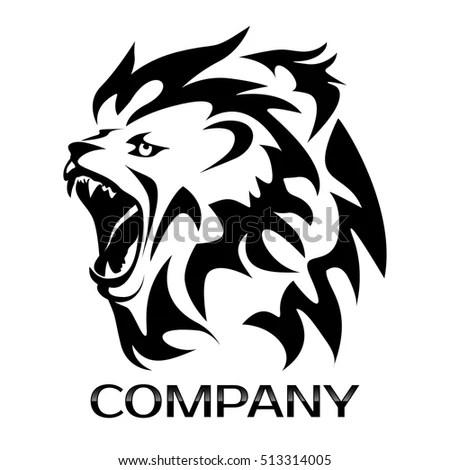 Roaring Lion Head Silhouette Stock Vector 457131319
