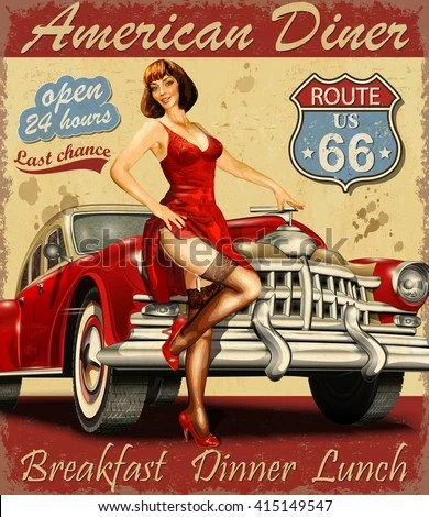 Diner Route 66 Vintage Poster Stock Vector Royalty Free
