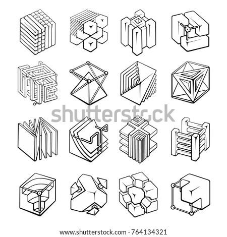 Set 3d Geometric Shapes Cube Designs Stock Vector