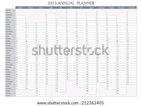 2015 Annual planner. English calendar for year 2015. Week