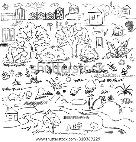 Jungle Forest Cartoon Coloring Book Vector Stock Vector