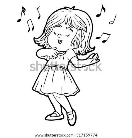 Coloring Book Children Little Girl Red Stock Vector