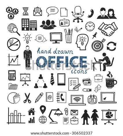 Office Icons Hand Drawn People Computer Stock Vector