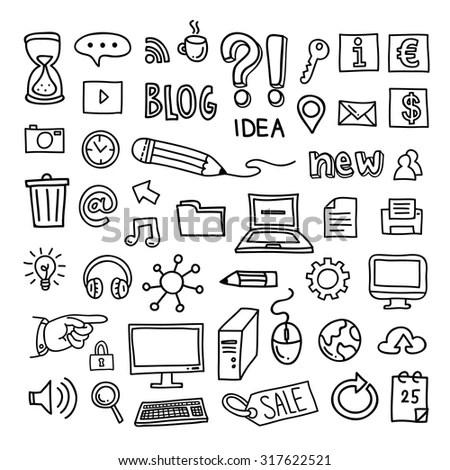 Internet Business Icons Hand Drawn Concept Vectores En
