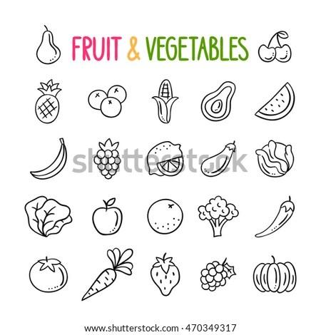 Fruit Vegetables Hand Drawn Vector Set Stock Vector