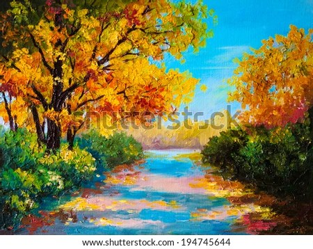 Autumn Tree Leaf Fall Animated Wallpaper Oil Painting Autumn Forest Road Bright Stock Illustration