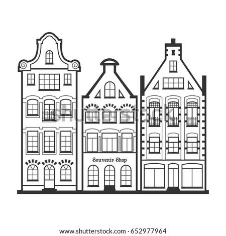 Set 3 Amsterdam Old Houses Facades Stock Vector 652977964