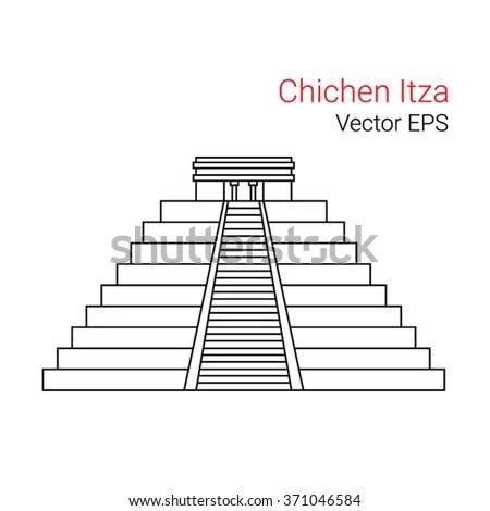 Vector Line Icon Chichen Itza Mexico Stock Vector