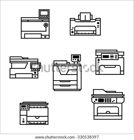 Isolated Vector Printer Icons Set Document Stock Vector