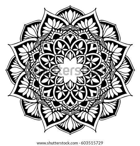 Flower Doodle Drawing Freehand Vector Coloring Stock