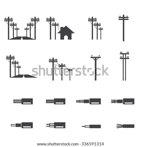 Electricity Post Wire Icon Stock Vector 336591314