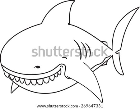 Cute funny looking Great white shark coloring book