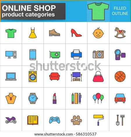 Shop Product Categories Line Icons Set Stock Vector 586310537