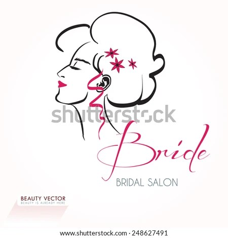 Beautiful Womans Head Silhouette Gorgeous Hair Stock