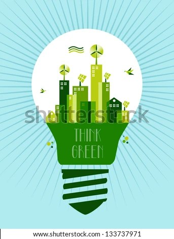 Green Icons Set City Silhouette Background Stock Vector