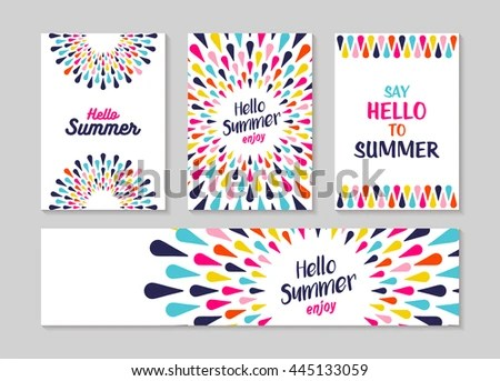 Hello Summer Lettering Label Greeting Card Stock Vector