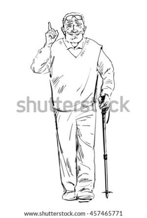 walking sketch fitness smiling stick senior tracking hand elderly vector finger uncle leo active drawn illustration shutterstock portfolio pointing hiking