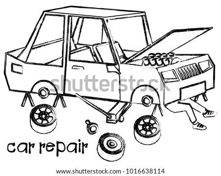 Mechanic Lying Working Under Car Repair Stock Vector