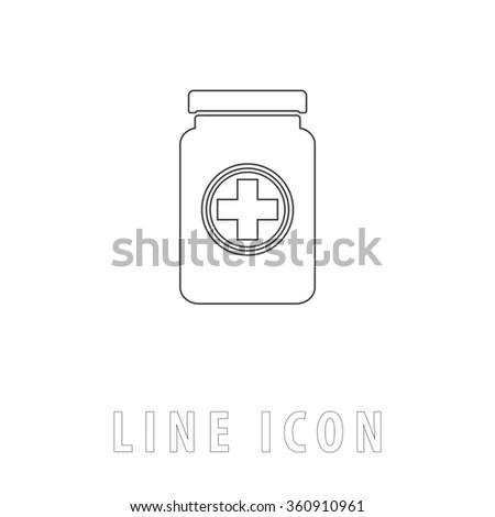 Bottle Pill Outline Icon Vector Stock Vector 612595874
