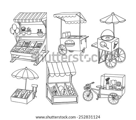 Set Stall Shop Cart Vector Illustration Stock Vector