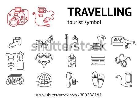 Set Travel Icons Tourism Journey Trip Stock Vector