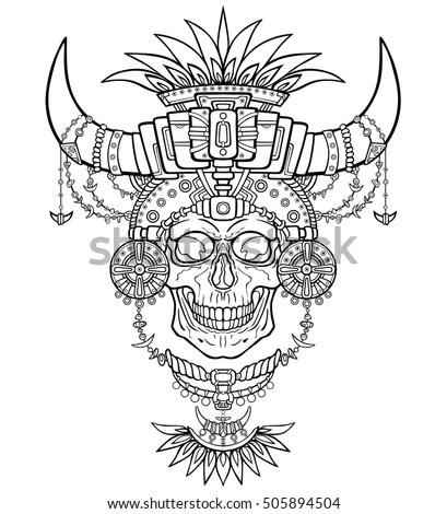 Shamans Mummy Human Skull Magic Clothes Stock Vector