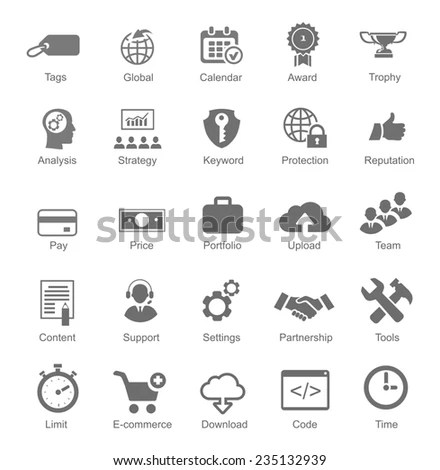 Business Icon Set Smart Goal Setting Stock Vector
