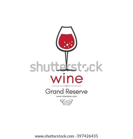 Wine Bar Logo Template Red White Stock Vector 486047545